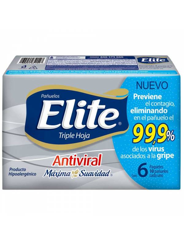 PAÑUELO ELITE POCKET ANTIVIRAL X 6 (36 PAQUETES)