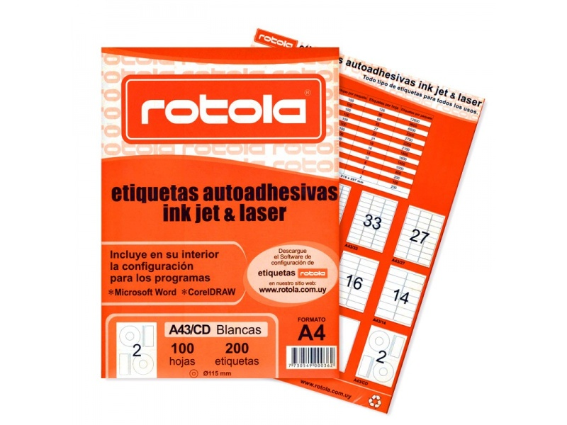 ETIQUETA ROTOLA X 100 HOJAS A4